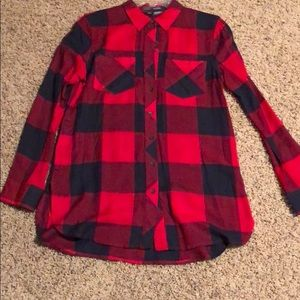 Tunic length button up blouse